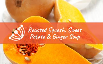 Roasted Squash, Sweet Potato & Ginger Soup